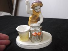 ANTIQUE HANDPAINTED CHINA FIGURINE CHERUB BLACKSMITH HEART TLC